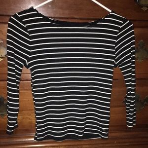 American Eagle Long Sleeve Striped Crop top